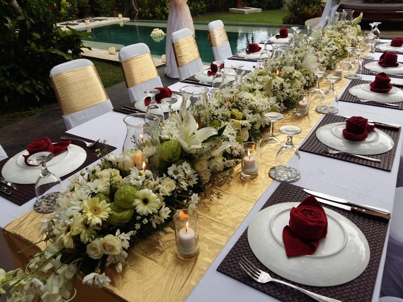 Long bridal table centerpiece bali vintage florist