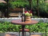 Bentwood table with bistro stools