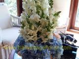 Blue Hydrangea -snap dragon centerpiece