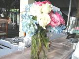 rose mix blue hotensia centerpiece