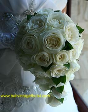 Cascade white rose bouquet