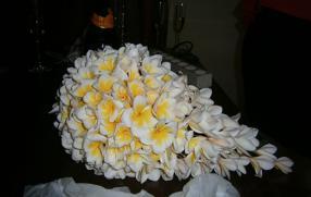 cascade frangipani bouquet